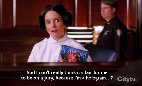 "Tina Fey as Liz Lemon ""and I don't really think it's fair for me to be"