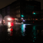 A photograph showing the waters of the Hudson River on 10th Avenue. Photo by Katya Valevich