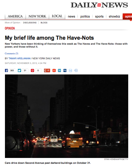 Daily News Opinion piece about Hurricane Sandy