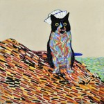 Joshua-Petker-Kevin-the-Ship-cat-2012-acrylic-and-ink-on-canvas-30x30_