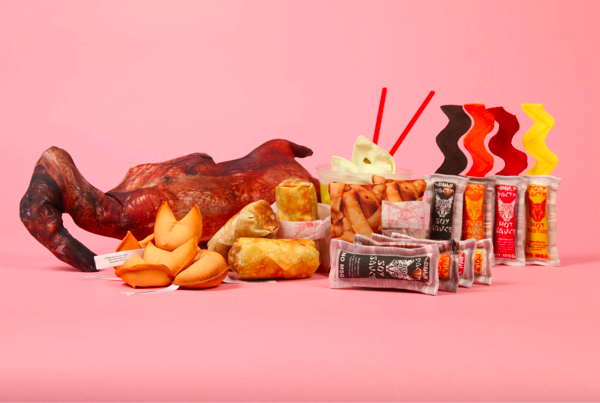 Take out time! Accompanying the original eight Asian sauce packets are the newest toys I designed: Window Duck, Fortune Cookies, Eggroll, Chow Mein Noodles, and Wontons.