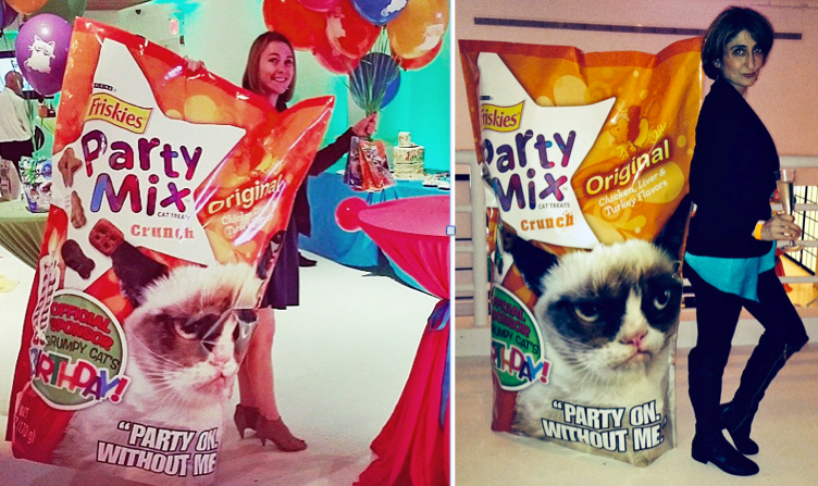 That lady on the left (who just happens to be the Mom of Oskar the Blind Cat and Klaus and was in the shot above with the balloons) thought about taking the food for her kitties. While I, on the other hand, was more concerned about posing with the huge Friskies Party Mix Bag. Sorry fur kids!