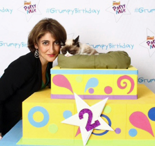 Yours truly and Grumpy (see how I made her perk up? NOT!)