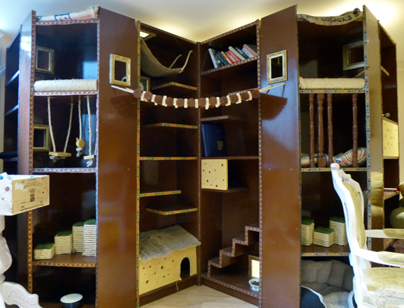 Fabulous former cupboard turned into a cat fantasy world!