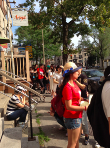 Line to get into the Montreal Cat Cafe