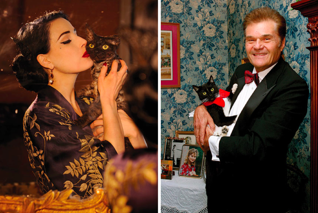 Dita Von Teese and Fred Willard with their cats