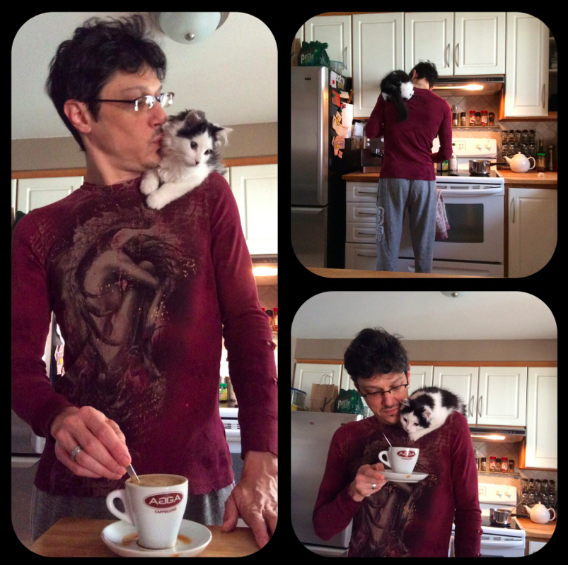 hubby with The Oreo Cat