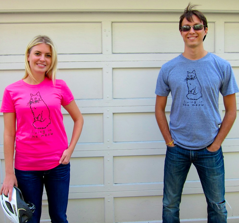 Living int he Meow cat t-shirts that give back to cats