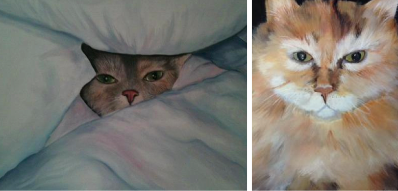 Two examples of Amy's kitty portraits
