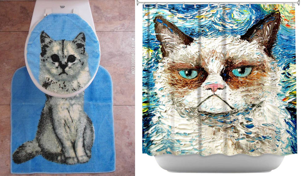 Cat Bathroom Rug And Grumpy Shower Curtain