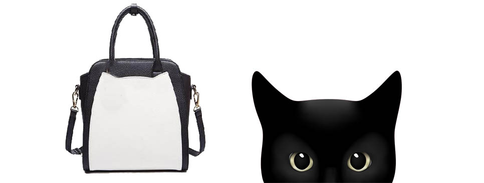 Contemporary Cat handbag with black cat ears shopify slider