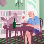 Painting of ernest hemingway with cat