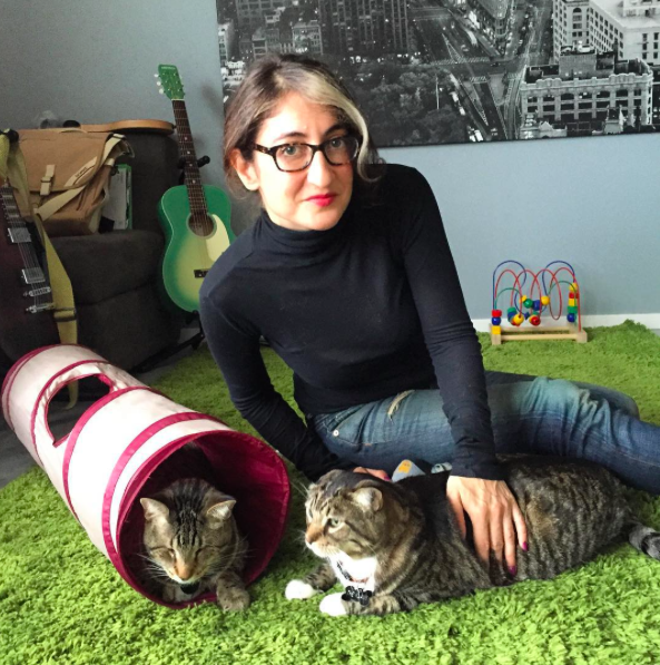 Tamar Arslanian with Oskar the Blind Cat and The Klaus