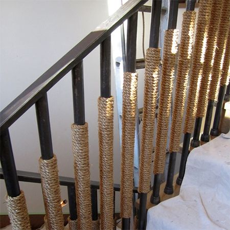 sisal wrapped stair case railing