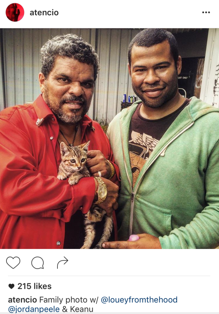 Keanu kitten with Jordan Peele and @Loueyfromthehood