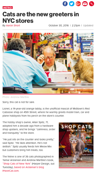 Shop Cats of New York NY Post Book Review