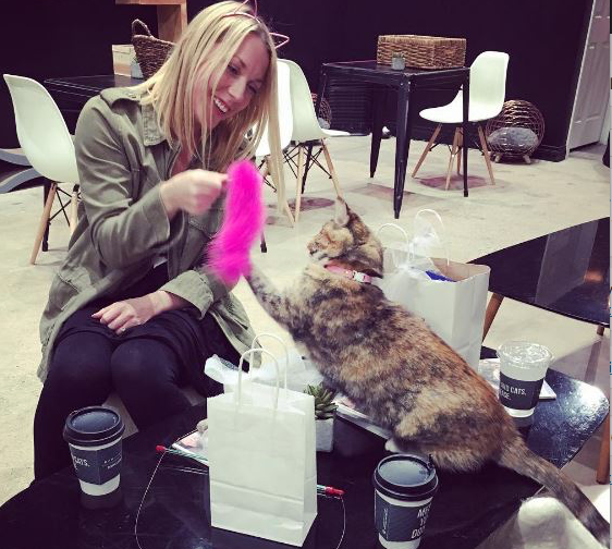 cat lady at cat cafe